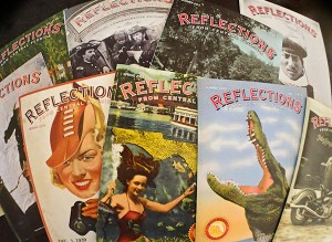 An array of magazine covers  with historical imagery on the covers