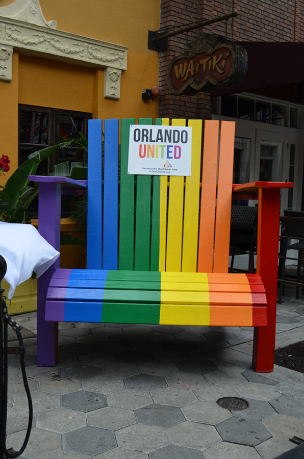 Orlando United t-shirts for sale on Wall Street in Orlando with lines going around the block. Proceeds from the sales go to the Orlando Fund for the Pulse Shooting victims. Shirts were made by the Orlando City Soccer, Orlando Magic, Orlando Solar Bears.