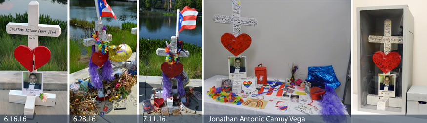 Wooden memorial crosses, one for each victim, made by Greg Zanis who made them and drove them 1,200 miles from his home in Illinois to be placed at the Orlando Regional Medical Center. Sharpies were provided with each cross so that people could write messages and memorials to the victims.