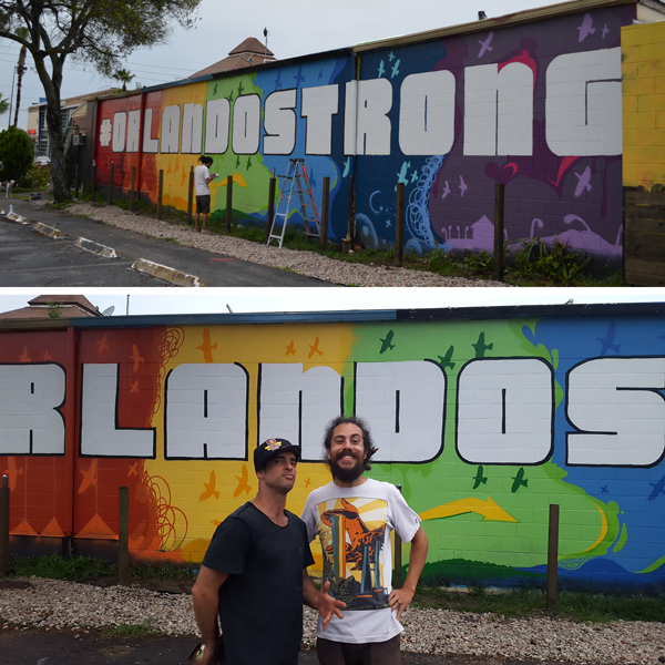 Two street artists Juan Llobet (#HepsFury) and Luciano Pereira (#LuceSky) are part of the Walls of Pho Hua. Artists who decorate the exterior walls of the Pho Hua on Primrose Drive in Orlando, painting an Orlando Strong mural. Luciano, though from Brazil, has been in Orlando for 10 years and felt as an artist it was a role he could play to support the victims. Juan is an Orlando native.