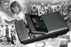 Montage of black and white images of different families super-imposed with a tape recorder