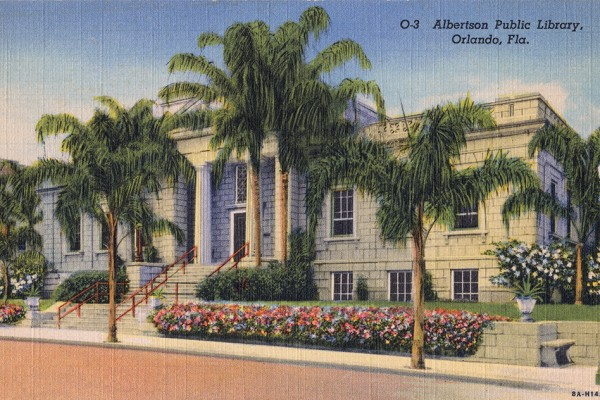 An undated postcard depicting the Albertson Public Library