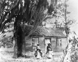 Simple cabin with two people in front