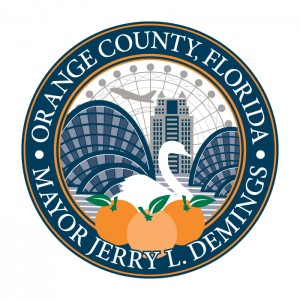 Seal for Orange County Mayor Jerry Demings with oranges, swan, convention center, skyscraper, and airplane