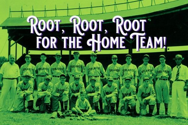 Vintage photo of Orlando baseball team in front of grandstands at Tinker Field.