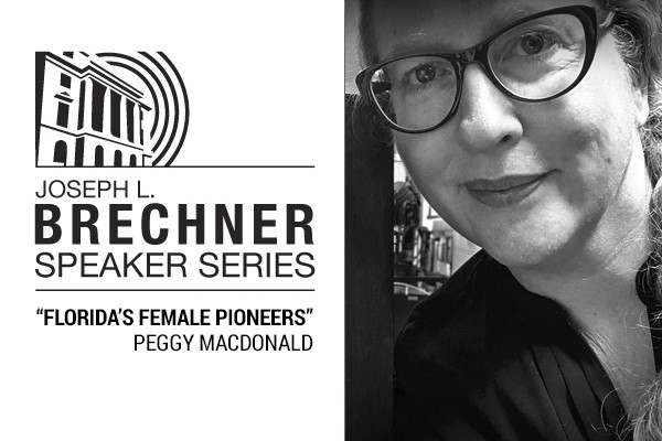 Black and White photo of author Peggy Macdonald and Brechner Series logo