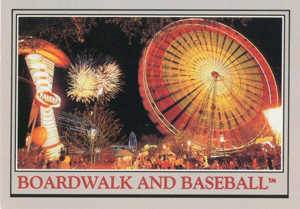 Postcard shows spinning Ferris wheel and other midway rides at Circus World