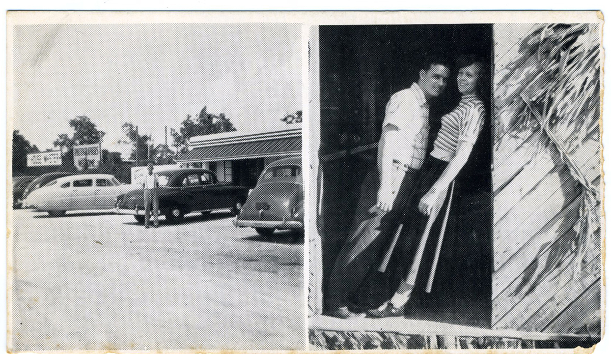 Postcard of House of Mystery shows parking lot and couple standing in an optical illusion