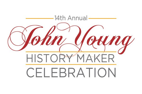 Script John Young in red letters with block text reading History Maker Celebration