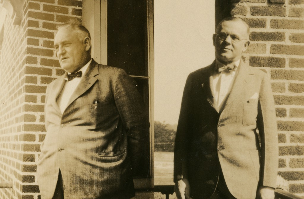 Sepia tone photos of doctors McEwan and Christ both wear suits and bow-ties.