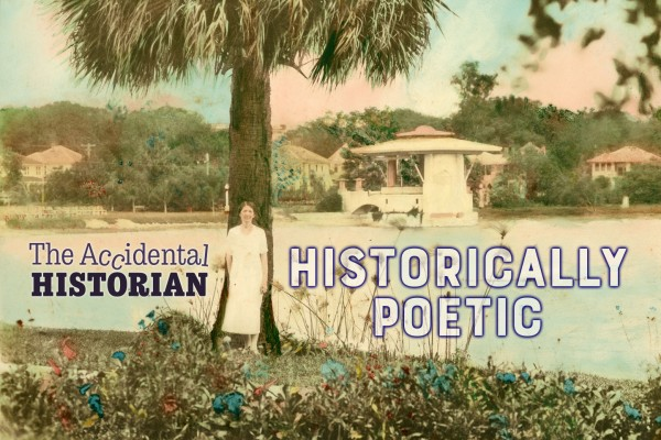 Hand colored image of woman at Lake Eola with Historically Poetic text