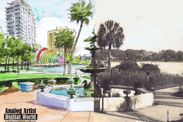 Left side is sketch , right is side is photo of Sperry Fountain at Lake Eola