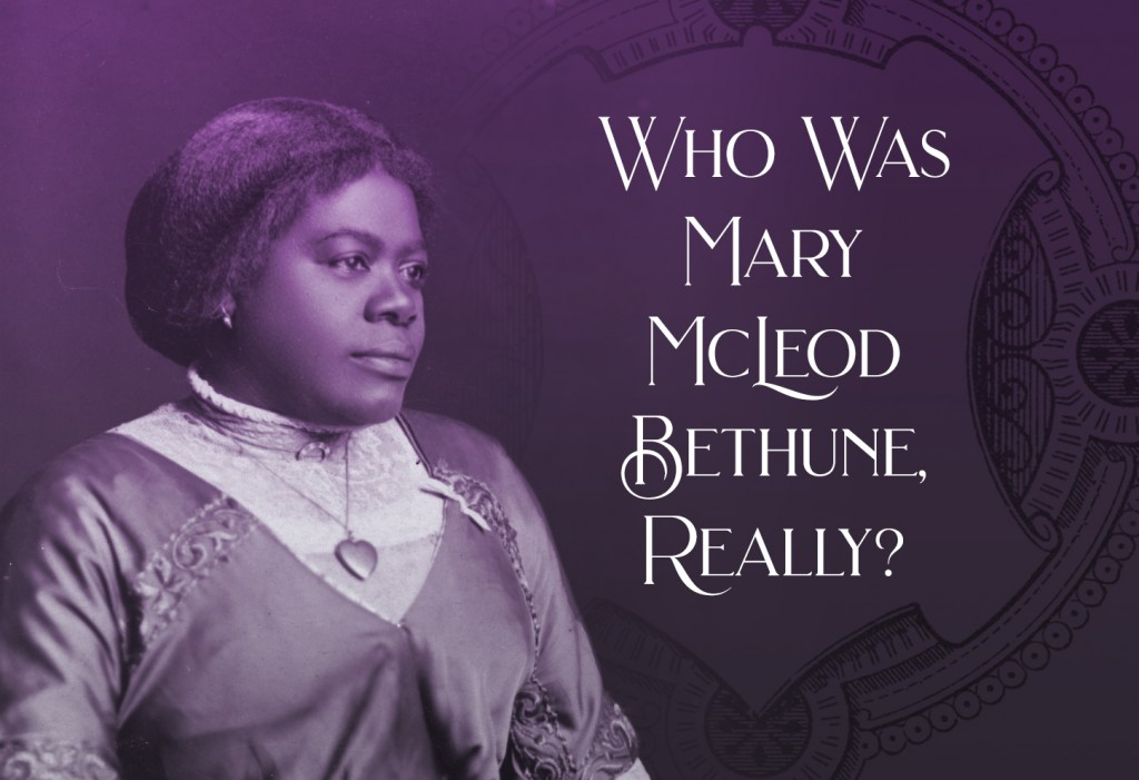 Mary McLeod Bethune wearing a Victorian-stye dress with a locket