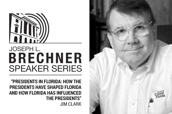 Black and white headshot of author Jim Clark and Brechner series logo