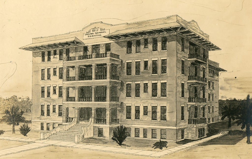 Pencil sketch of Orange General Hospital