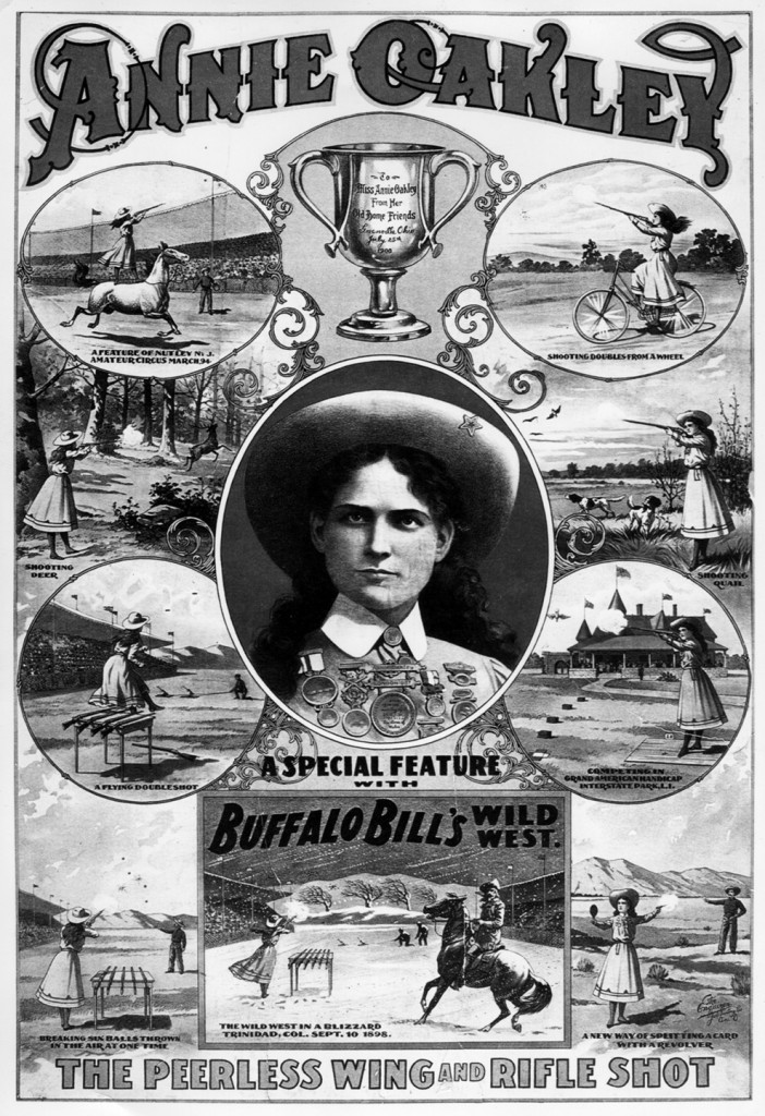 Annie Oakley poster from Buffalo Bill's Wild West Show with multiple images of Annie shooting including a portrait in the center.