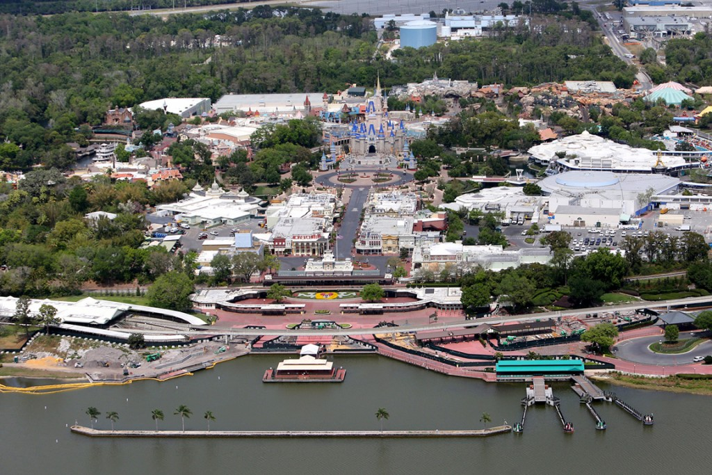 An aerial view of Walt Disney World closed to the public due to the Coronavirus threat on March 23, 2020 in Orlando, Florida.