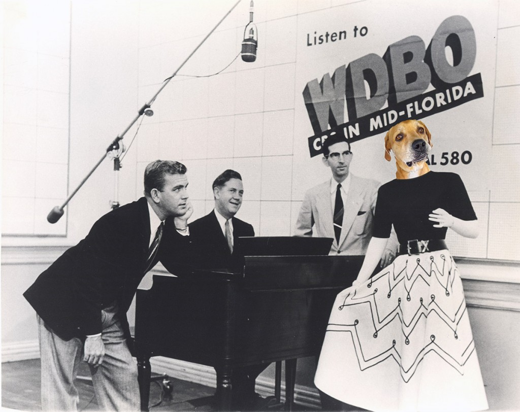 4 people in WDBO studio including a woman with the head of a dog.