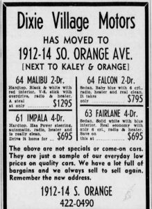Dixie Village Motors Ad