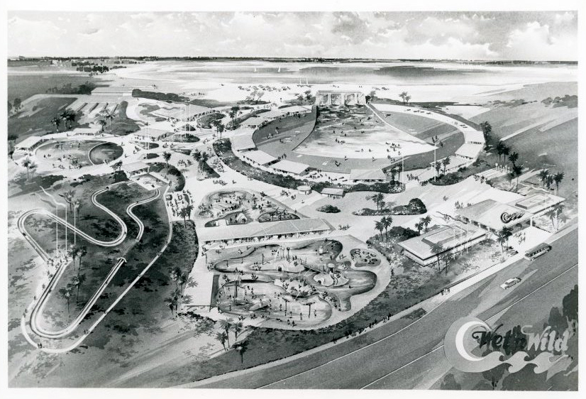 Black and white image of artists rendering of Wet 'n Wild